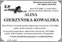 ŚP. ALINA GIERZYŃSKA – KOWALSKA